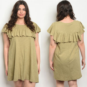 Ruffle Plus size dress, Olive summer dresses 1x 2x